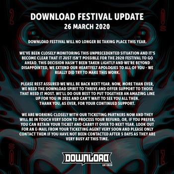 2020 Download Festival cancellation